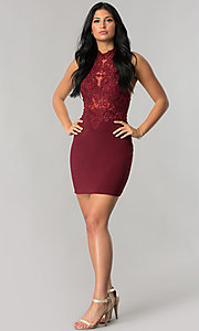 Image of short homecoming dress with beaded high-neck halter.  Style: NA-6309 Detail Image 1