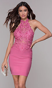Image of short homecoming dress with beaded high-neck halter.  Style: NA-6309 Detail Image 3