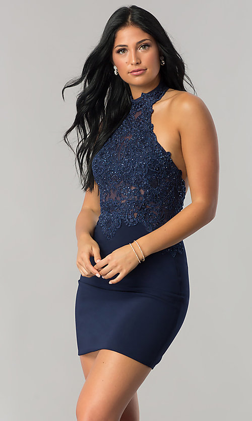 Image of short homecoming dress with beaded high-neck halter.  Style: NA-6309 Detail Image 2