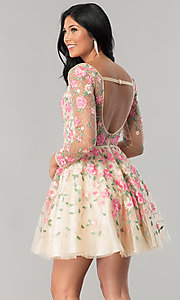 Image of long-sleeve embroidered short nude homecoming dress. Style: NA-6311 Back Image