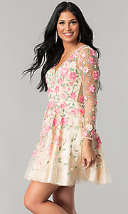 Image of long-sleeve embroidered short nude homecoming dress. Style: NA-6311 Detail Image 1