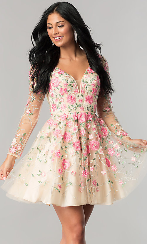 Image of long-sleeve embroidered short nude homecoming dress. Style: NA-6311 Front Image
