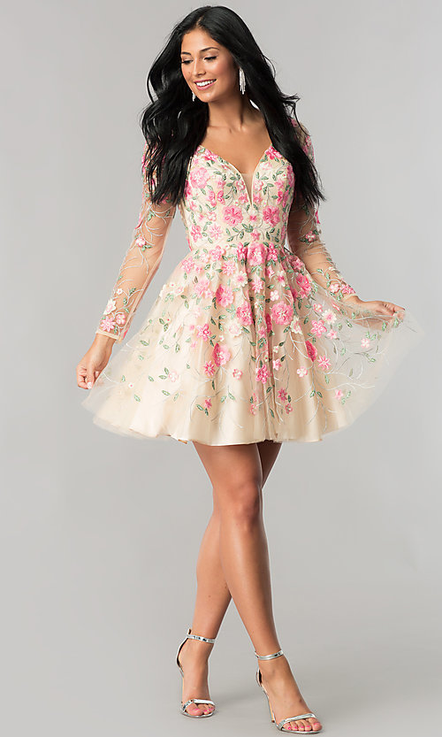 Image of long-sleeve embroidered short nude homecoming dress. Style: NA-6311 Detail Image 2