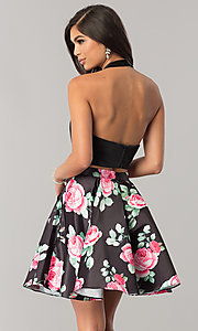 Image of two-piece halter party dress with floral skirt. Style: NA-6227 Back Image