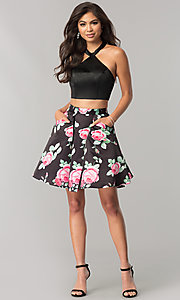 Image of two-piece halter party dress with floral skirt. Style: NA-6227 Detail Image 1