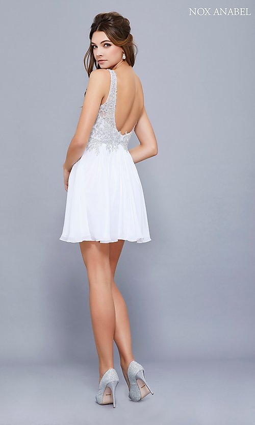 Image of black short homecoming party dress with beading. Style: NA-6291 Detail Image 3