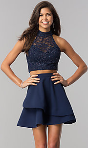 Image of glitter-lace top two-piece navy homecoming dress. Style: BD-4XGL532 Front Image