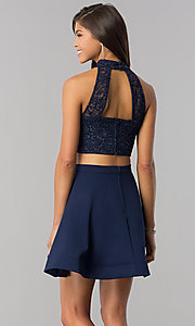 Image of glitter-lace top two-piece navy homecoming dress. Style: BD-4XGL532 Back Image