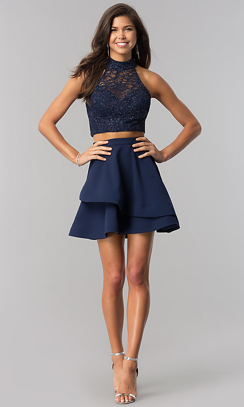 Image of glitter-lace top two-piece navy homecoming dress. Style: BD-4XGL532 Detail Image 1