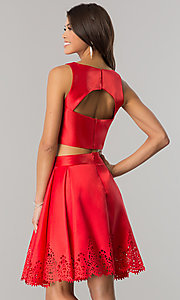 Image of short satin two-piece party dress with high neck. Style: OD-8331 Back Image
