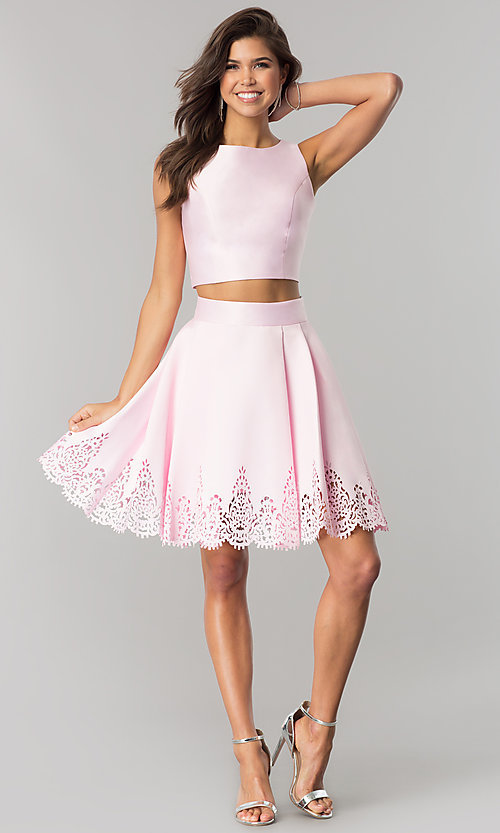Image of short satin two-piece party dress with high neck. Style: OD-8331 Detail Image 3