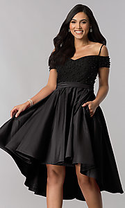 Image of high-low off-shoulder designer homecoming dress. Style: OD-9134 Detail Image 2