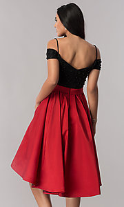 Image of high-low off-shoulder designer homecoming dress. Style: OD-9134 Back Image