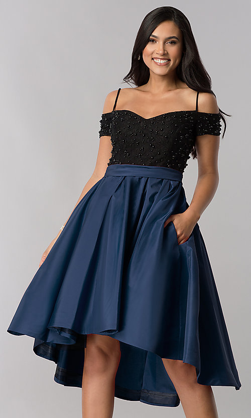 Image of high-low off-shoulder designer homecoming dress. Style: OD-9134 Detail Image 1