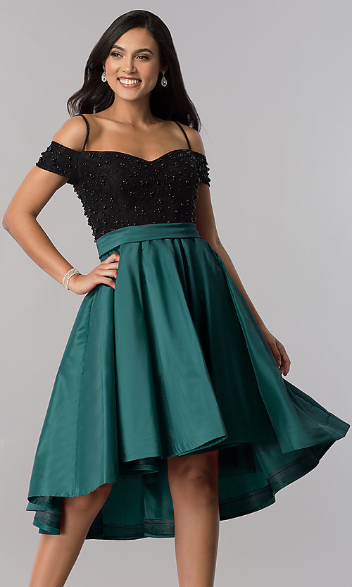 Image of high-low off-shoulder designer homecoming dress. Style: OD-9134 Front Image