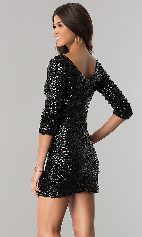 Image of sequin short party dress with three-quarter sleeves. Style: VE-638-213985 Back Image