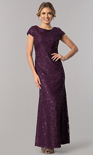 Long Sequin-Lace Short-Sleeve Wedding-Guest Dress