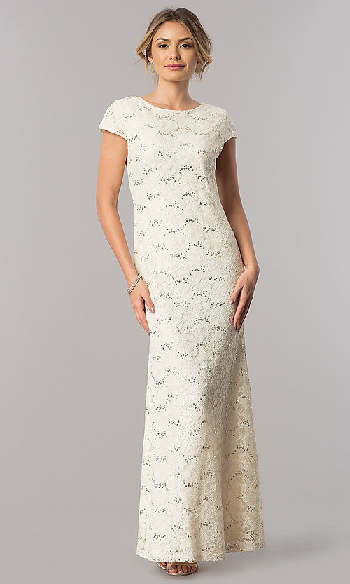 Image Of Long Sequin Lace Short Sleeve Wedding Guest Dress Style