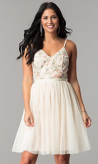 Short Beige Cocktail Dress with Embroidered Bodice