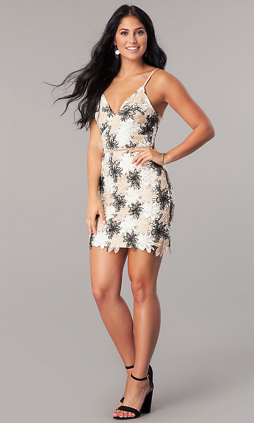 Image of short v-neck cocktail party dress with floral lace.  Style: MT-8744 Detail Image 1