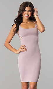 Image of bodycon short cocktail party dress with open back.  Style: BLU-BD8485 Back Image