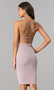Image of bodycon short cocktail party dress with open back.  Style: BLU-BD8485 Front Image