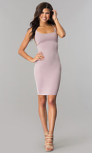 Image of bodycon short cocktail party dress with open back.  Style: BLU-BD8485 Detail Image 1