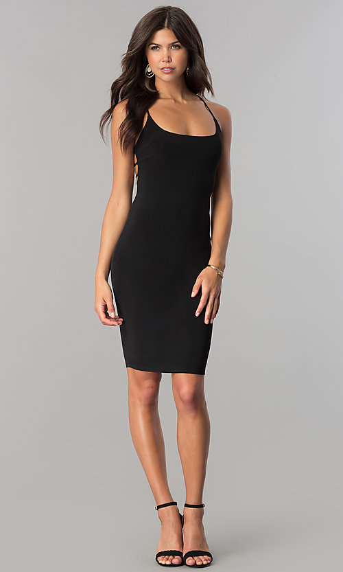 Image of bodycon short cocktail party dress with open back.  Style: BLU-BD8485 Detail Image 2