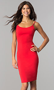 Image of short red cocktail party dress with open back.  Style: BLU-BD8469 Front Image