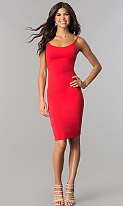Image of short red cocktail party dress with open back.  Style: BLU-BD8469 Detail Image 1