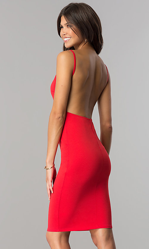 Image of short red cocktail party dress with open back.  Style: BLU-BD8469 Back Image