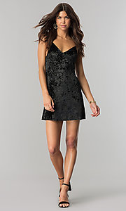 Image of short black velvet cocktail party dress with v-neck. Style: BLU-BD8216 Detail Image 1