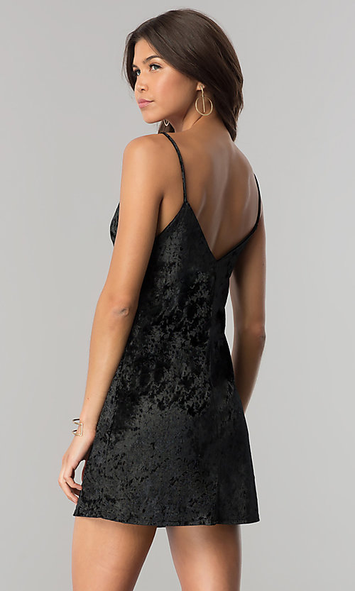 Image of short black velvet cocktail party dress with v-neck. Style: BLU-BD8216 Back Image