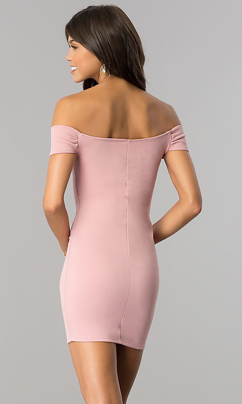 Image of off-the-shoulder bodycon short party dress. Style: BLU-BD8428 Back Image