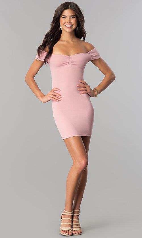 Image of off-the-shoulder bodycon short party dress. Style: BLU-BD8428 Detail Image 1