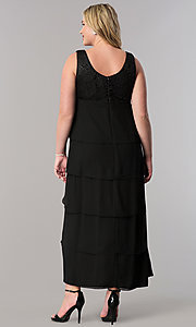 Image of plus-size long mother-of-the-bride dress with jacket. Style: SF-8729P Back Image