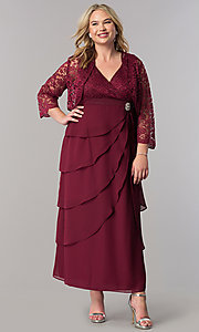 Image of plus-size long mother-of-the-bride dress with jacket. Style: SF-8729P Detail Image 2