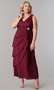 Image of plus-size long mother-of-the-bride dress with jacket. Style: SF-8729P Detail Image 7