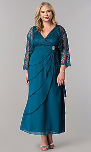 Image of plus-size long mother-of-the-bride dress with jacket. Style: SF-8729P Detail Image 1
