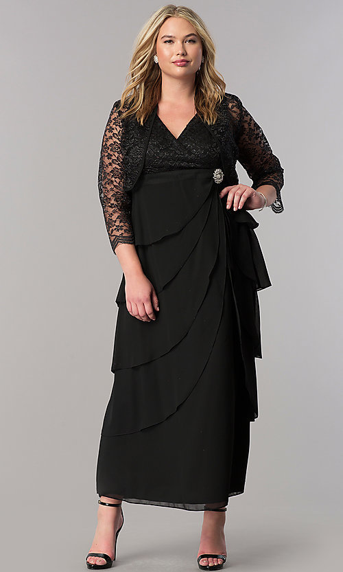 Image of plus-size long mother-of-the-bride dress with jacket. Style: SF-8729P Front Image