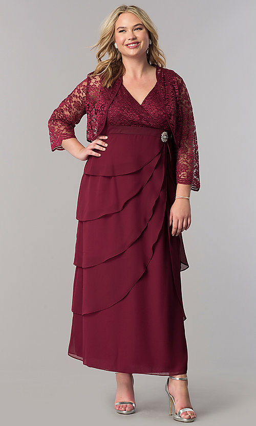 Image of plus-size long mother-of-the-bride dress with jacket. Style: SF-8729P Detail Image 6