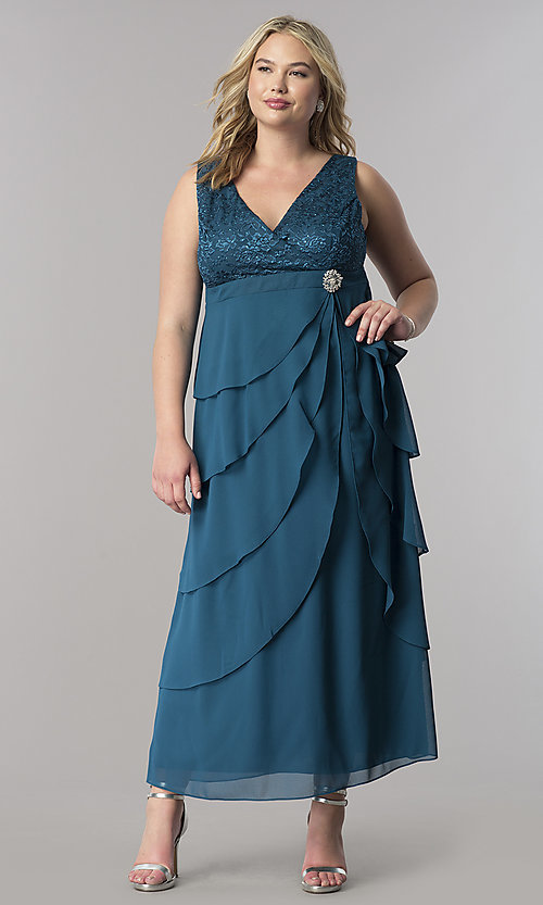 Image of plus-size long mother-of-the-bride dress with jacket. Style: SF-8729P Detail Image 4