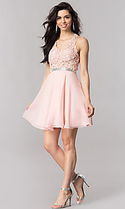 Image of lace-bodice short homecoming dress in blush pink.  Style: DQ-2048 Detail Image 1