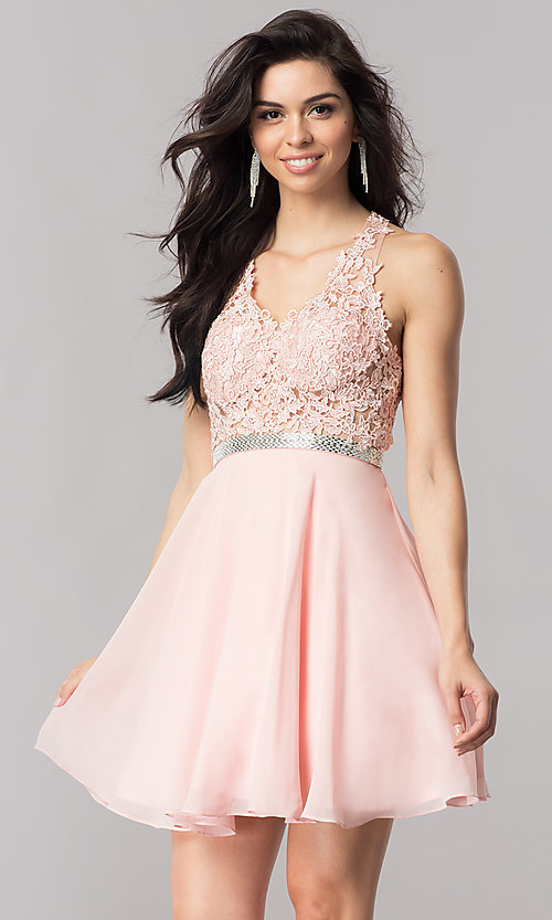 Image of lace-bodice short homecoming dress in blush pink.  Style: DQ-2048 Front Image