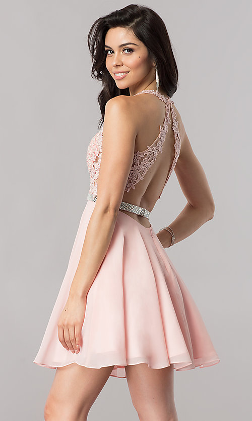 Image of lace-bodice short homecoming dress in blush pink.  Style: DQ-2048 Back Image