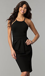 Image of knee-length cocktail party dress with back cut outs. Style: AL-HL-108 Front Image