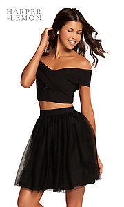 Image of off-shoulder two-piece short homecoming party dress. Style: AL-HL-111 Detail Image 1