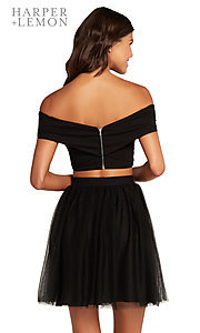 Image of off-shoulder two-piece short homecoming party dress. Style: AL-HL-111 Detail Image 2