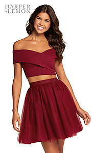 Image of off-shoulder two-piece short homecoming party dress. Style: AL-HL-111 Front Image