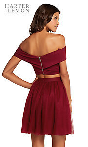 Image of off-shoulder two-piece short homecoming party dress. Style: AL-HL-111 Back Image